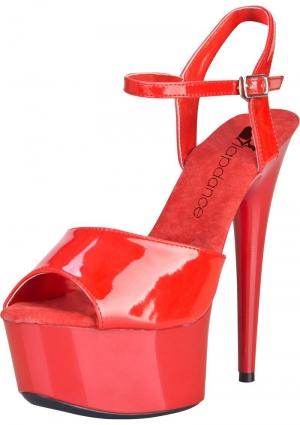 6 Red Platform Sandal W/ Strap Sz 9