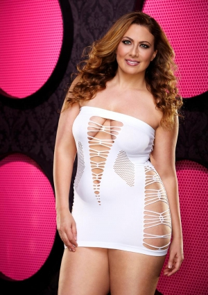 BACKROOM MINI DRESS - WHITE-PLUS