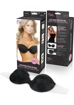 LACE PUSH UP SELF AD WING BRA-BLK D