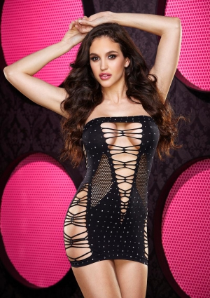 BLING BLING BACKROOM MINI DRESS- BLK DIA