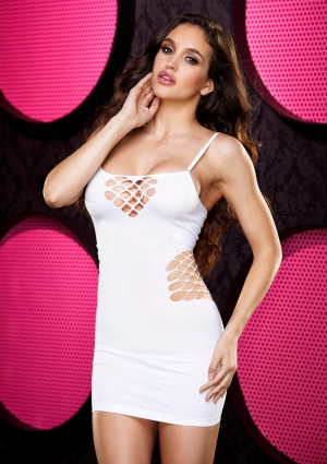 CASH CAGE MINI DRESS- WHITE