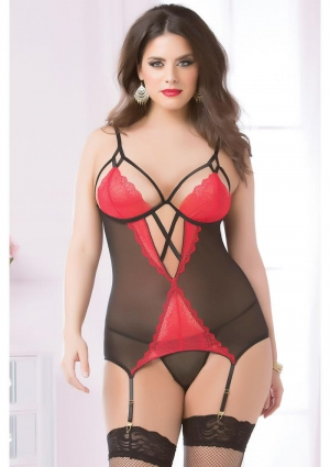 TWO PIECE CAMI AND THONG SET-RED-QUEEN