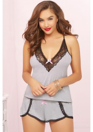 TWO PIECE CAMI SET-GREY-LARGE (DISC)