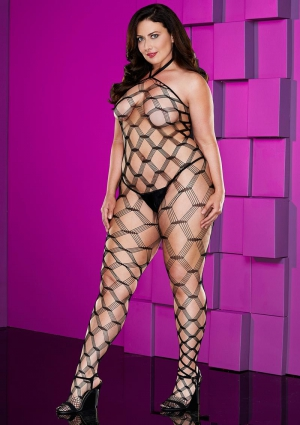 DIAMOND NETCROTCHLESS BODYSTOCKING-QUEEN