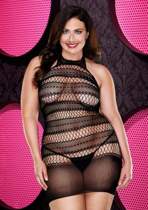 BABY BOO SEAMLESS MINI DRESS-BLACK-QUEEN