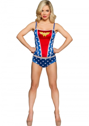 WONDERWOMAN PRINTED CORSET PANTY SET-XL
