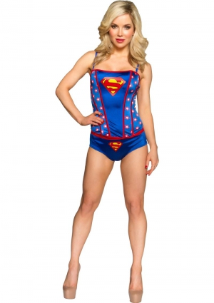SUPERMAN PRINTED CORSET PANTY SET-LARGE