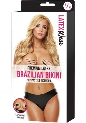 PREMIUM LATEX BRAZILIAN BIKINI-BLACK-S/M