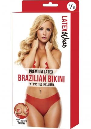 PREMIUM LATEX BRAZILIAN BIKINI-RED-S/M