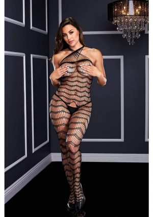 CRISS CROSS CROTCHLESS BODYSTOCKING-BK-O