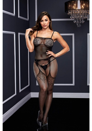 CROTCHLESS JACQUARD BODYSTOCKING-BLACK-O