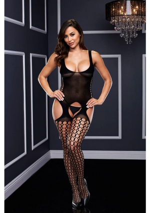 CROTCHLESS GARTER BODYSTOCKING-BLACK-O/S
