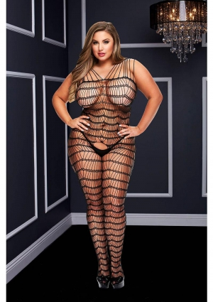 CRISS CROSS CROTCHLESS BODYSTOCKING-BK-Q