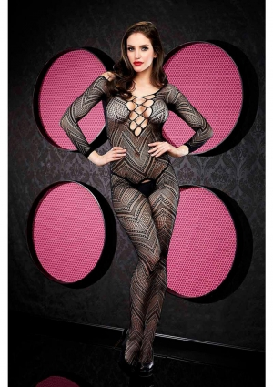 VIP LONGSLEEVE CROTCHLESS BODYSTOCKING-B
