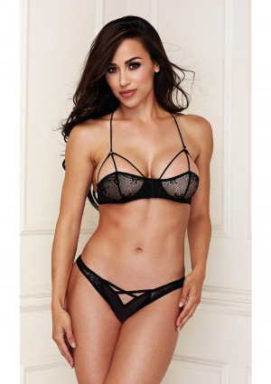 2 Peice Lace Bralette Set with Crisscross Panty Small