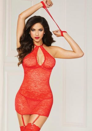 SWINGING CHEMISE and PANTY SET-RED-OS