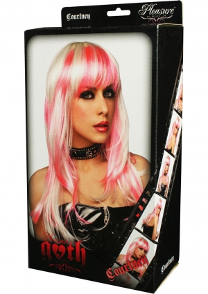 Courtney Wig White With Hot Pink