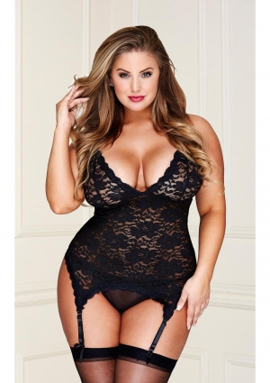 BLACK LACE BUSTIER G-STRING SET-QUEEN