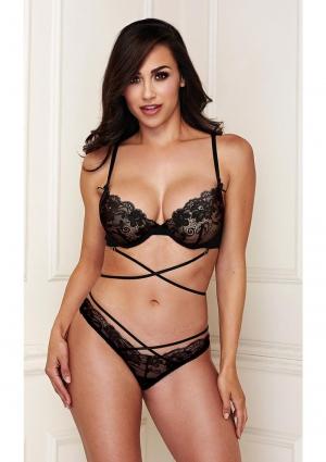 Black Crisscross Lace Bra and Panty Set Medium / Large