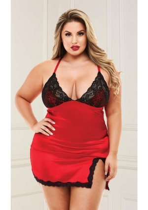 2 Piece Lace and Satin Chemise with Panty Red Queen
