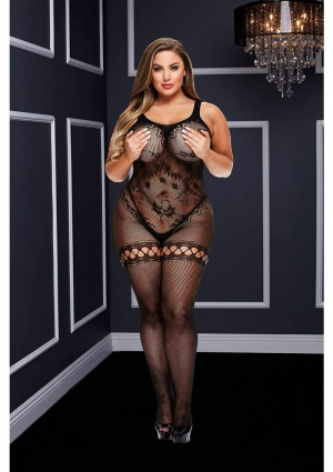 CROTCHLESS BODYSTOCKING-BLACK-QUEEN