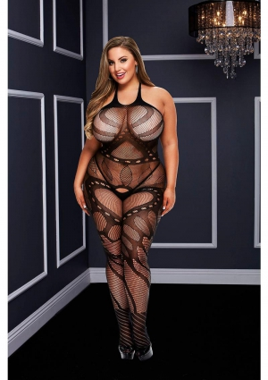 CROTCHLESS JACQUARD BODYSTOCKING-BLACK-Q