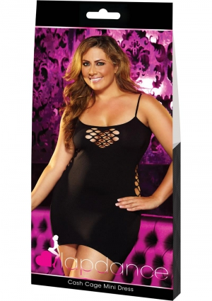 CASH CAGE MINI DRESS-BLACK-PLUS