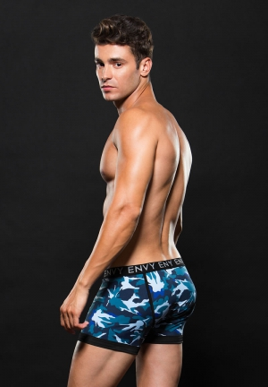 LGO ELSTC BXER BRIEF S/M BLUE CAMO (DISC
