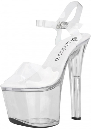"7"" Clear Platform Sandal With Strap Size 10"