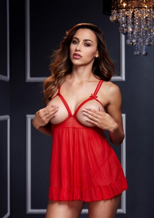 Red Sheer Babydoll With Open Cup Bra Panty-One Size