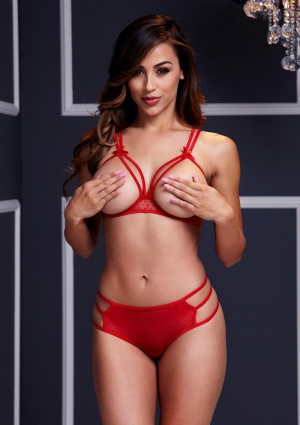 Red Strappy Open Cup Bra Set With Panty-One Size