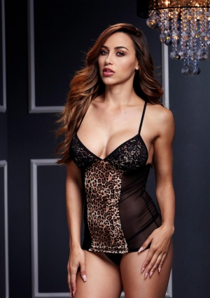 Leopard Basque With Garter Stays No Panty-One Size