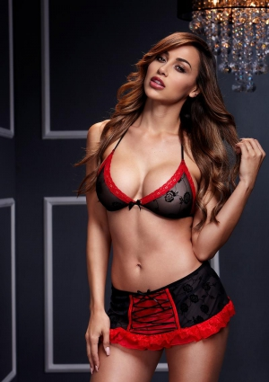 Bra Top W/ Black Red Lace Up Garterskirt