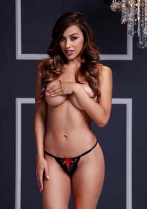 Black Lace Up Panty Red Ribbon-medium
