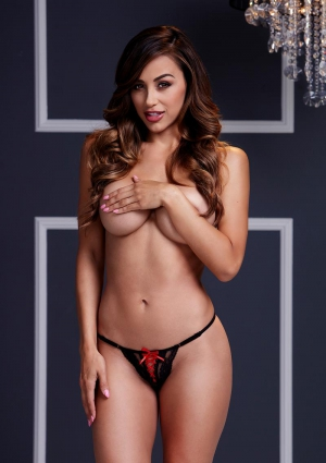 Black Lace Up Panty Red Ribbon-Large