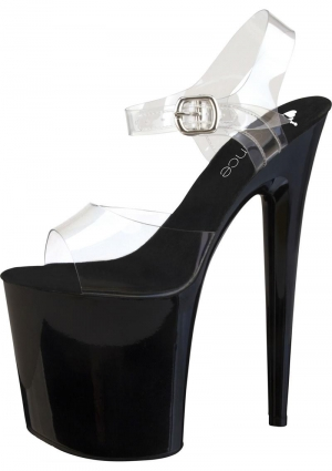 "8"" Clear And Black Platform Sandal With Strap-Size 10"