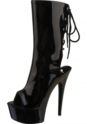 "6"" Black Patent Platform Laceup Knee High Boot-Size 10"
