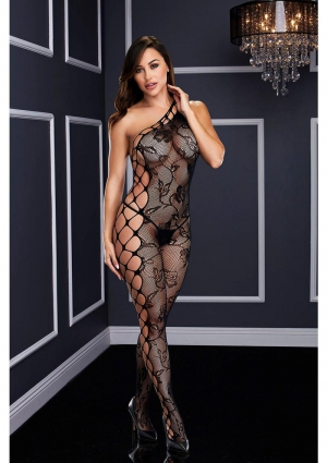 Off The Shoulder Bodystocking-Black-One Size