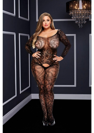 Longsleeve Crotchless Bodystocking-Black-Queen Size