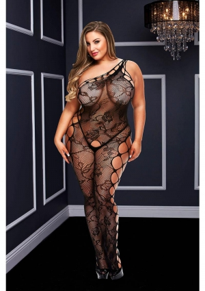 Off The Shoudler Bodystocking-Black-Queen Size