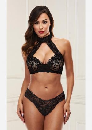 Lace Halter Bikini Set-Black-Small/Medium