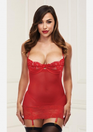 Open Cup Chemise With Garters-Red-Medium/Large