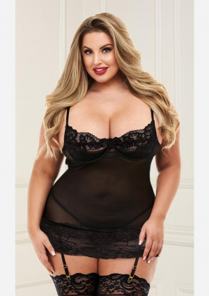 Open Cup Chemise With Garters-Black-Queen