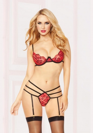 Red Three Piece Lace Bra Set With Panty Hose One Size