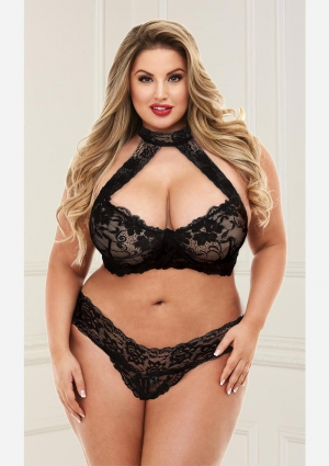 Lace Halter Bikini Set-Black-Queen