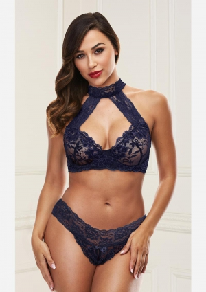 Lace Halter Bikini Set-Blue-Medium/Large