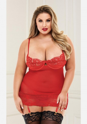 Open Cup Chemise With Garters-Red-Queen